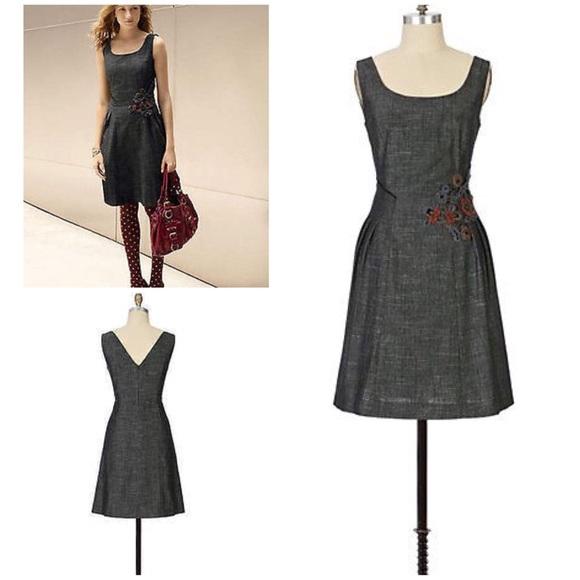 74af001e4af81 Anthropologie Dresses & Skirts - EUC Tabitha FERROUS Flower Sheath Denim  Dress 10